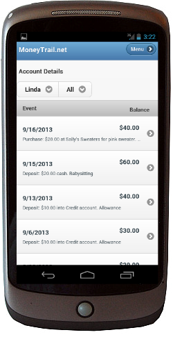A MoneyTrail Details screen is shown on an Android phone.