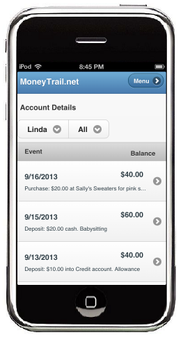 A MoneyTrail Details screen is shown on an iTouch.
