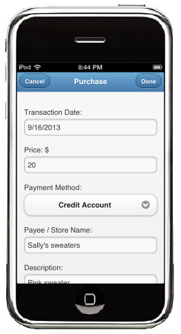 A MoneyTrail Purchase screen is shown on an iTouch.