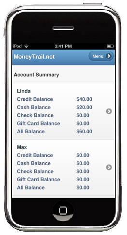 The MoneyTrail Account Summary screen is shown on the iTouch.